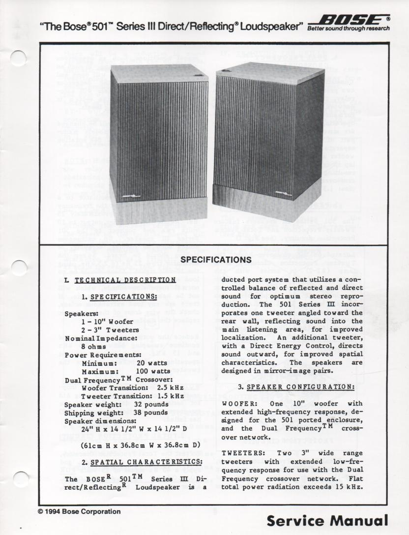 501 Series III Direct Reflecting Speaker System Service Manual