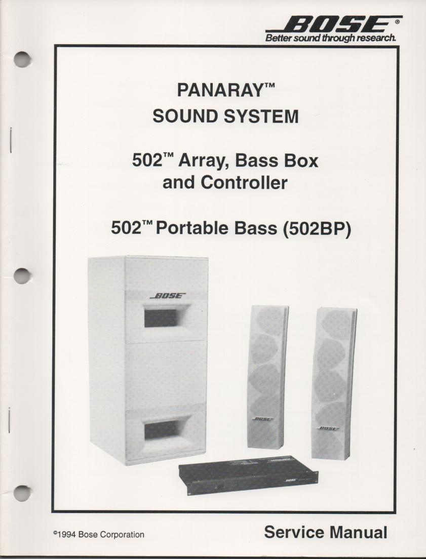 502 Speaker System Service Manual with Equalizer with Equalizer.   comes with 4 foldouts..