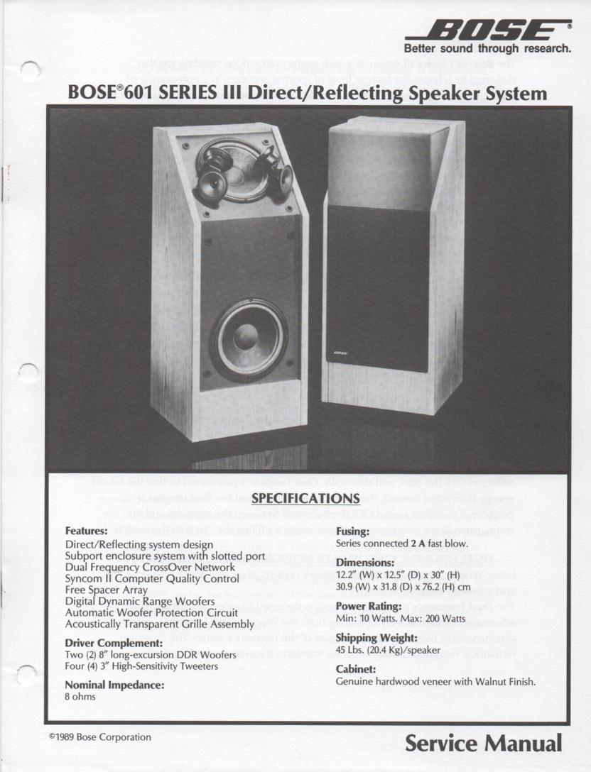 601 Series III Direct Reflecting Speaker System Service Manual