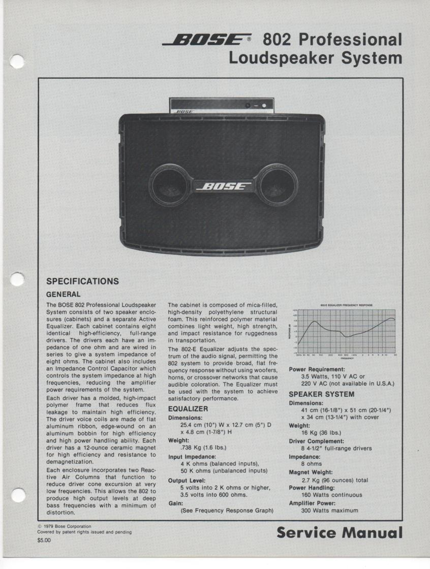 802 Profesional Loudpeaker System Service Manual.   with EQ schematic and coplete parts list..