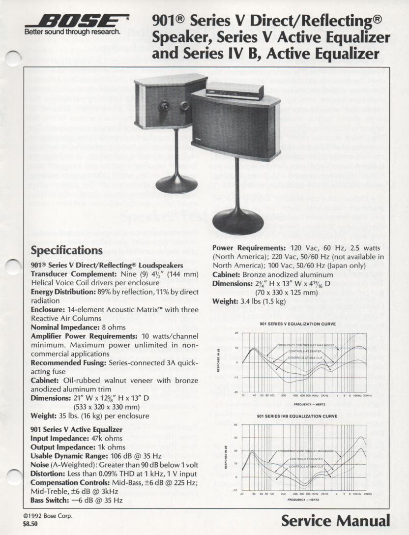 901 Series IV B 901 Series V  Direct Reflecting Speaker System Service Manual