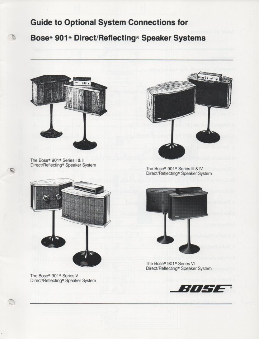 901 Series I II III IV V VI Direct Reflecting Speaker System Owners Manual. Contains connection diagrams for Series 1 - 6 speakers..