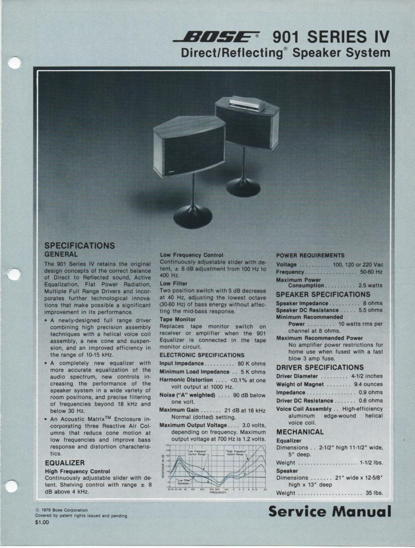 901 Series IV Direct Reflecting Speaker System Service Manual