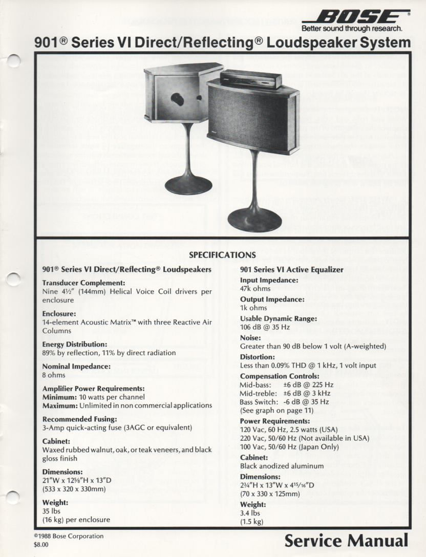 901 Series VI Direct Reflecting Speaker System Service Manual