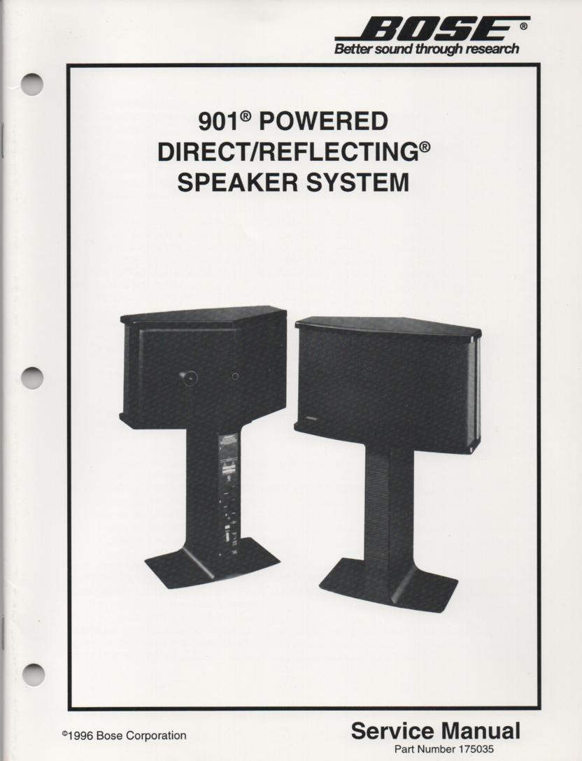 901 Powered Direct Reflecting Speaker System Service Manual.   appx.. 70 pages..