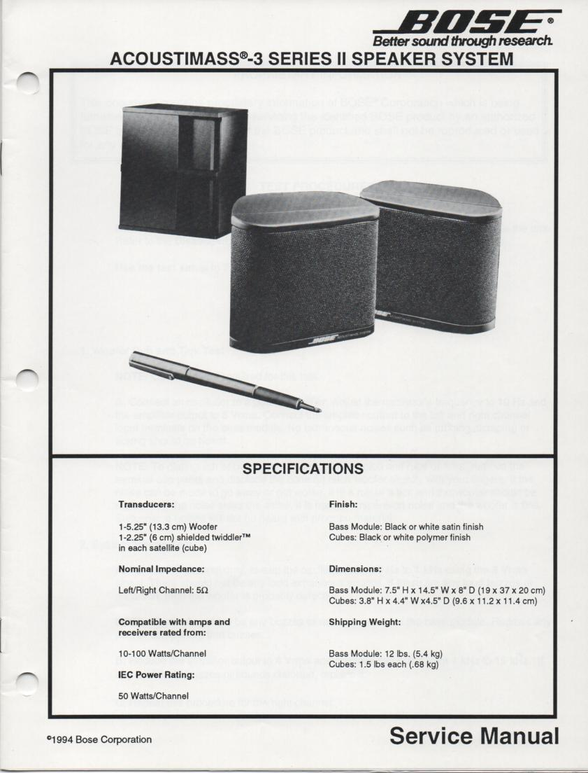 Acoustimass-3 Series II Speaker System Service Manual 1  Feb. 1994