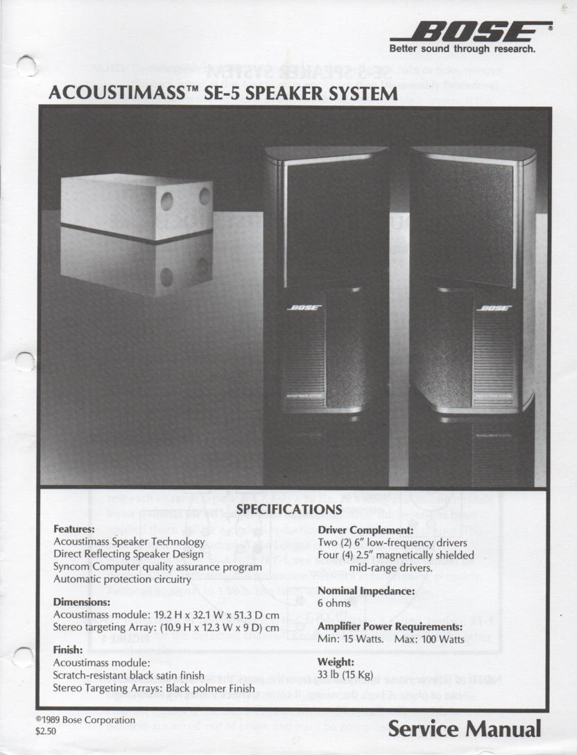 Acoustimass SE-5 Speaker System Service Manual