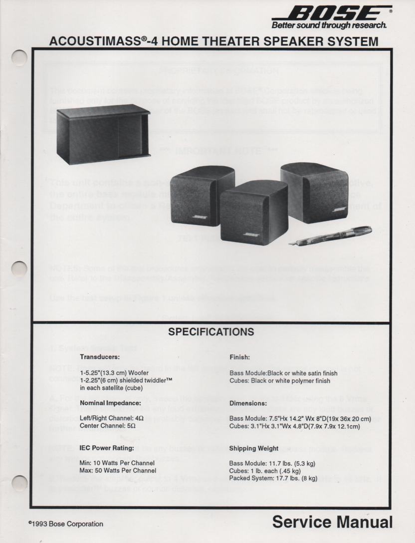 AM-4 Acoustimass-4 Home Theater Speaker System Service Manual.