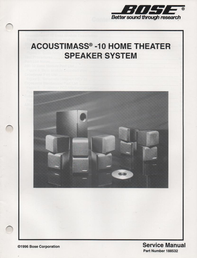 AM-10 Acoustimass-10 Home Theater Speaker System Service Manual.  