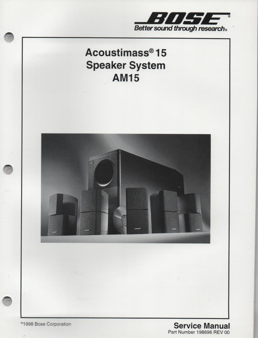 AM-15 Acoustimass-15 Speaker System Service Manual.  198696  1998