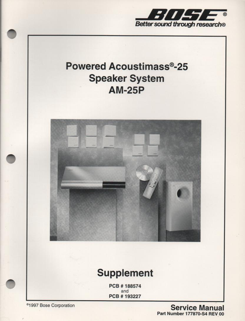 AM-25P Acoustimass-25P Powered Speaker System Service Manual.  177870-S4 1997   AM-9P AM-25P 177870-S2 1996...   2 Manual set