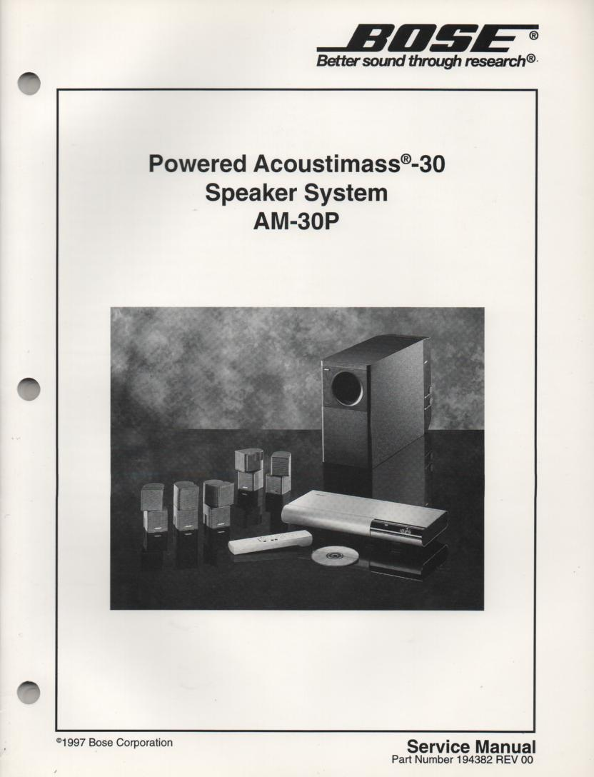 AM-30P Acoustimass-30P Powered Speaker System Service Manual.  194382 1997  194382-S2 1998