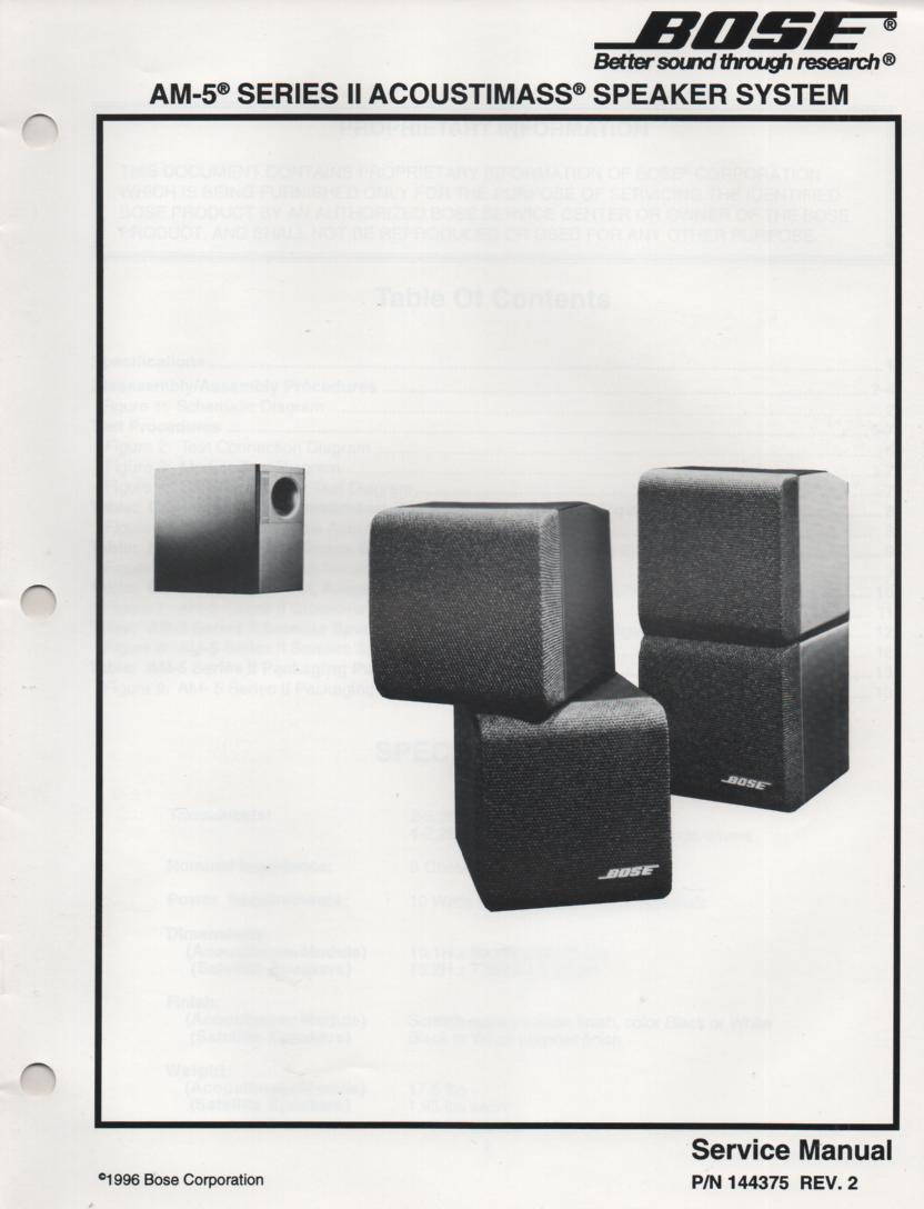 AM-5 Series 2 II Acoustimass-5 Series 2 II Speaker System Service Manual.    144375 Rev 2 1996
