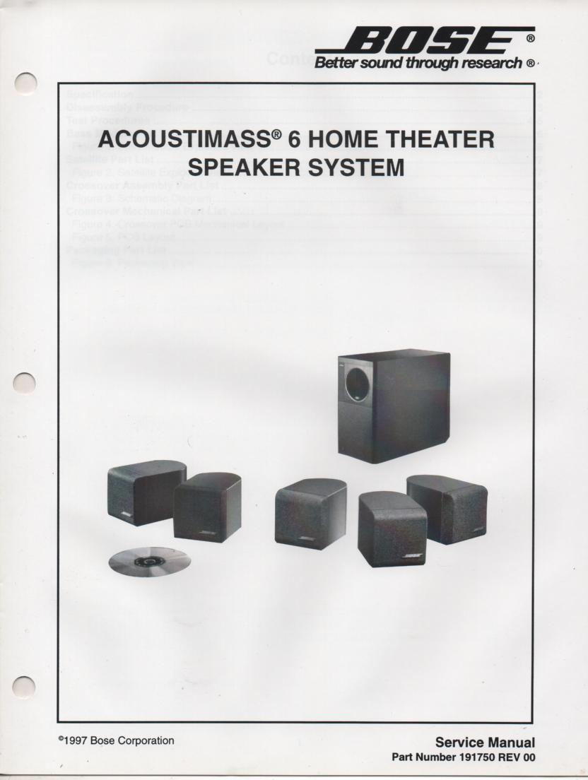 AM-6 Acoustimass-6 Home Theater Speaker System Service Manual.  