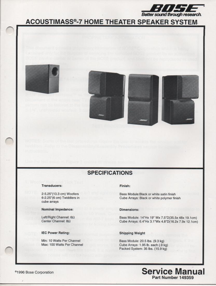 AM-7 Acoustimass-7 Home Theater Speaker System Service Manual.  