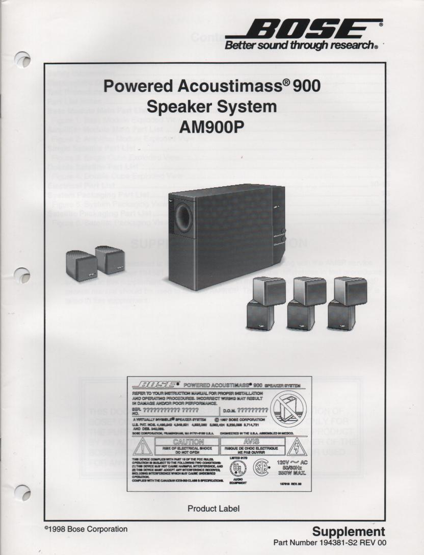 AM-900P Acoustimass-900P Powered Speaker System Service Manual 194381-S2   1998