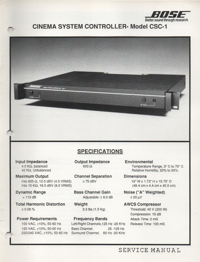 CSC-1 Cinema System Controller Service Manual