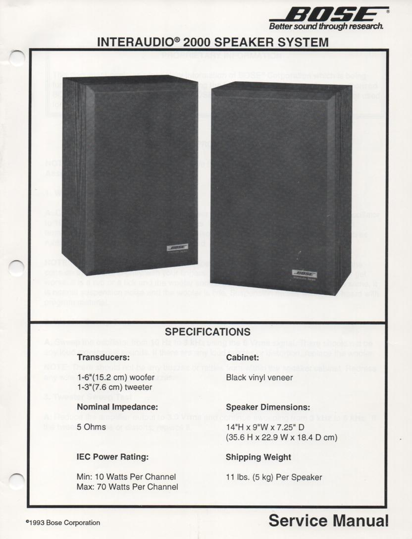 Interaudio 2000 Speaker System Service Manual