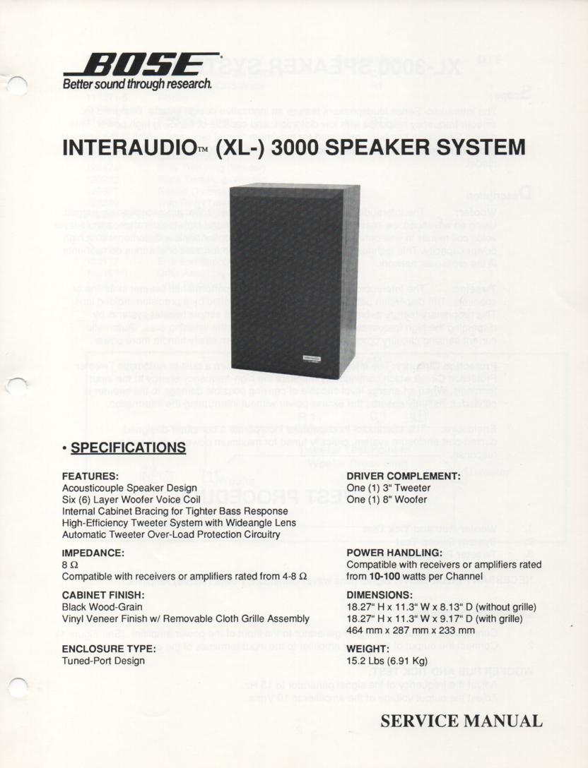 Interaudio XL 3000 Speaker System Service Manual