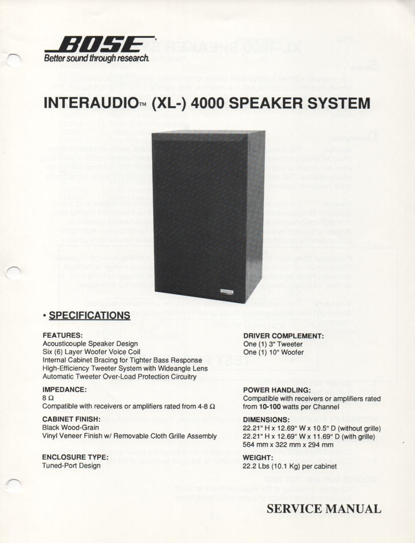 Interaudio XL 4000 Speaker System Service Manual