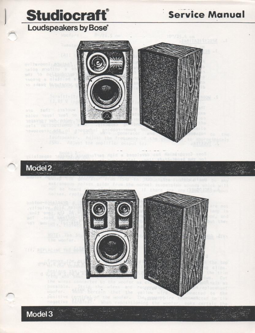 Studiocraft Model 2 3 Speaker System Service Manual.
