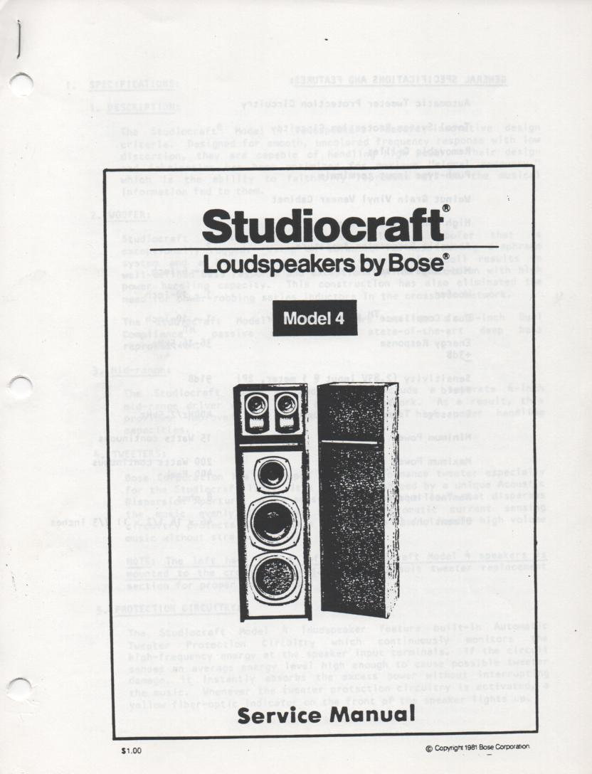 Studiocraft Model 4 Speaker System Service Manual.