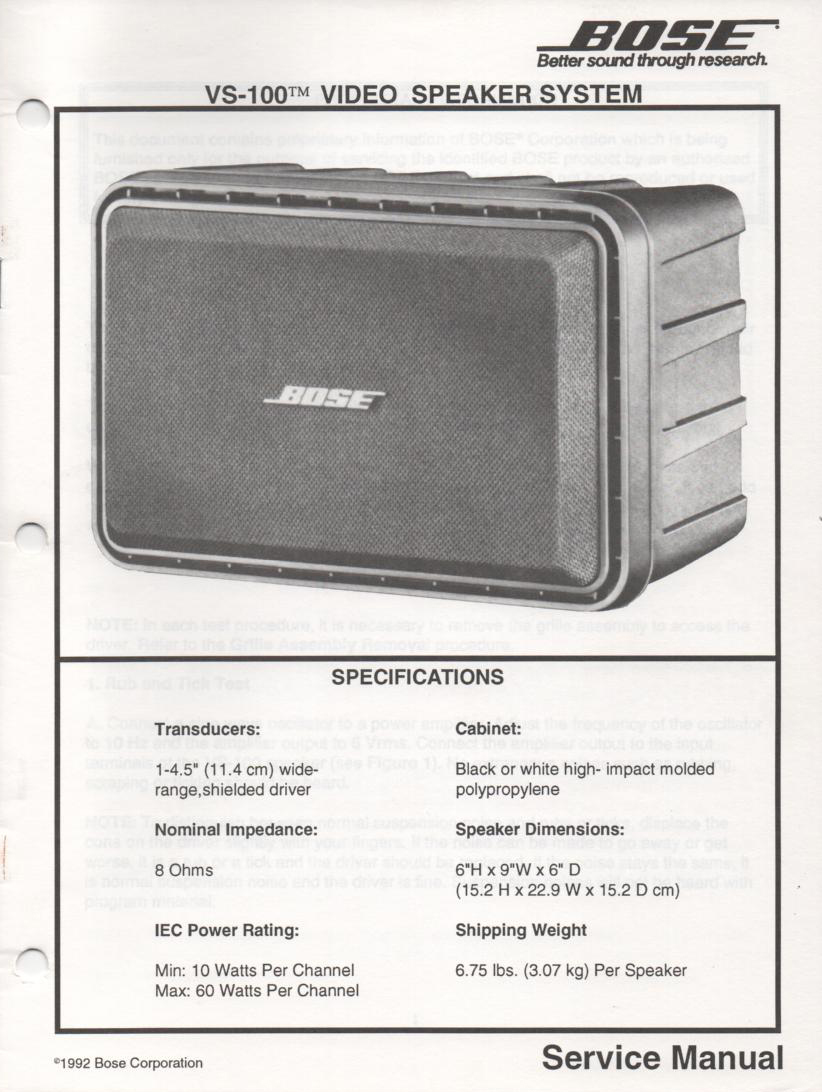 VS-100 Video Speaker System Service Manual