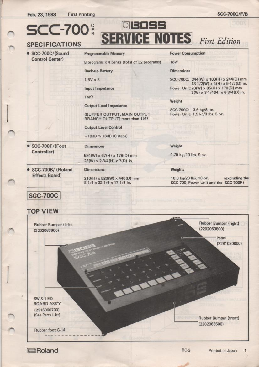 SCC-700C Sound Control Center Service Manual