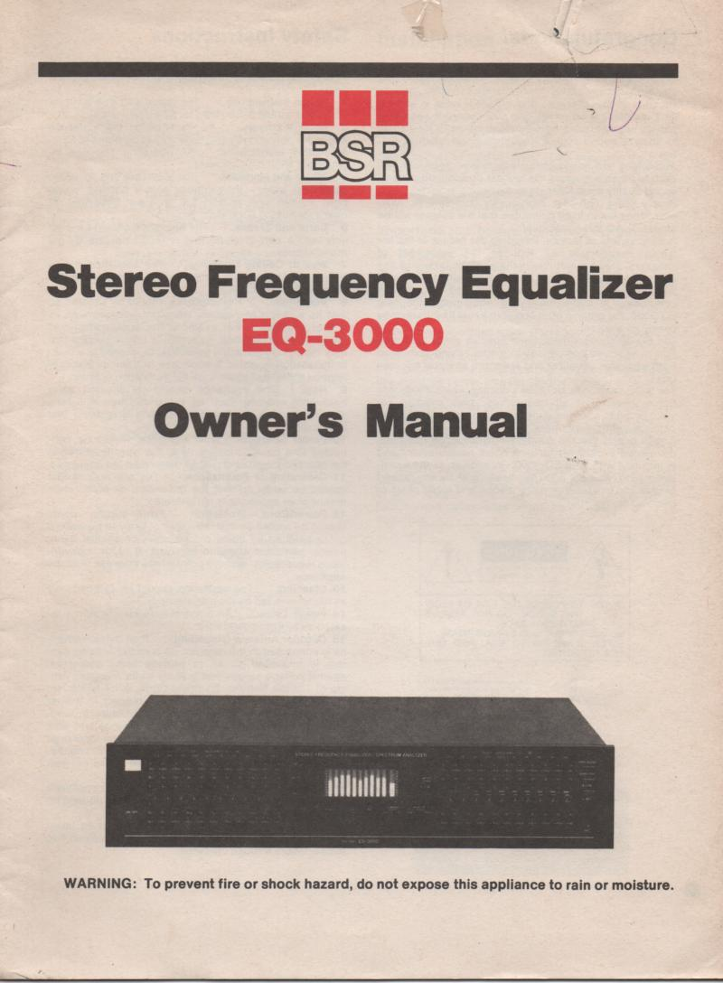 EQ-3000 Graphic Equalizer Owners Manual