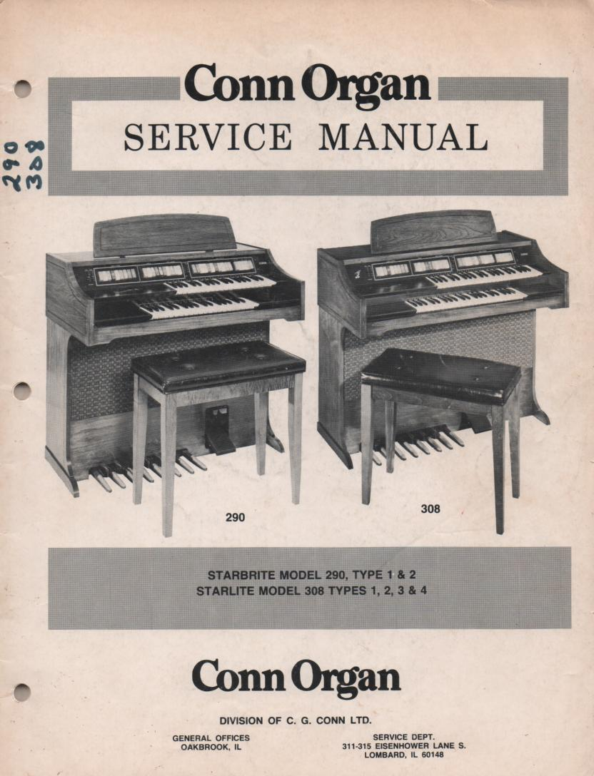 290 Starbrite Type 1 & 2 308 Starlite Type 1 & 2, 3, 4, Service Manual.   2 manual set...   Comes with updated schematic manual
