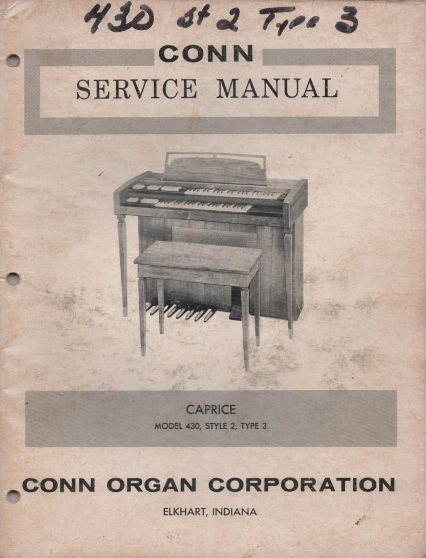 430 Style 2 Type 3 Caprice Organ Service Manual