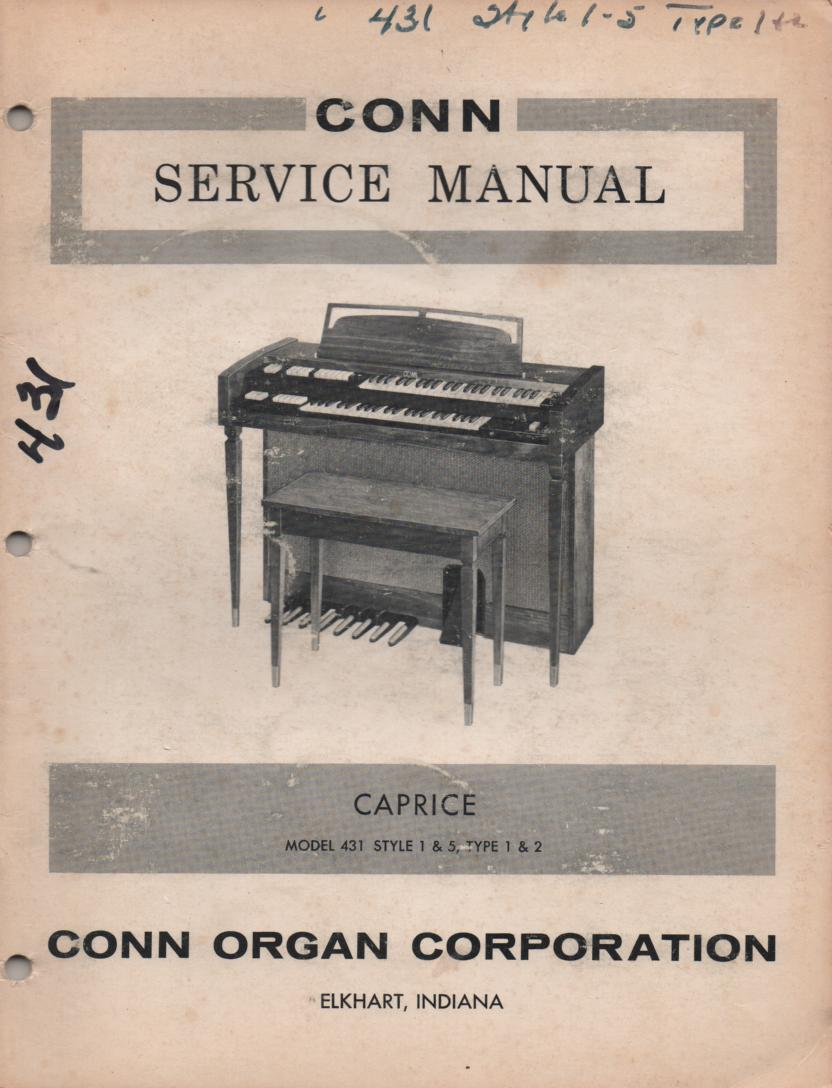 431 Style 1 & 5 Type 1 & 2 Caprice Organ Service Manual