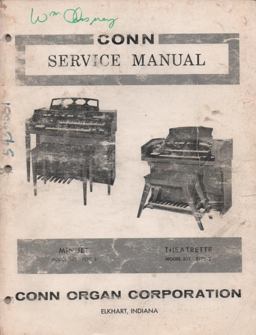 543 551 Organ Type 3 Service Manual.