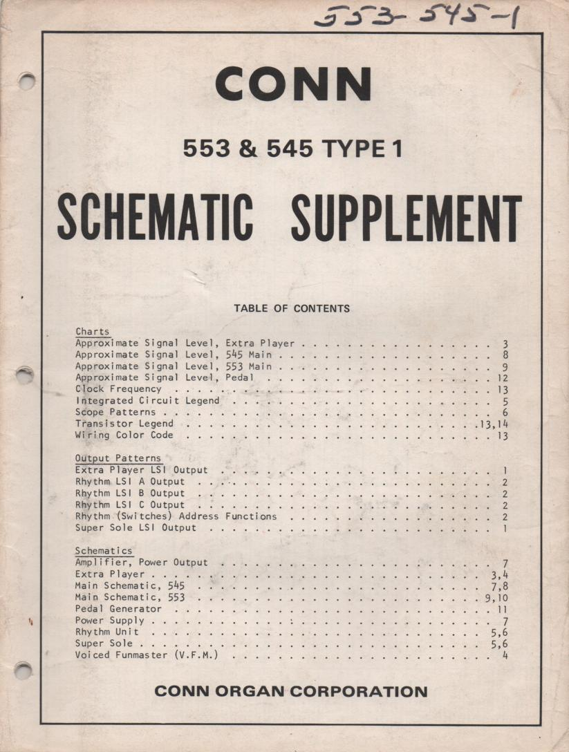 545 Nassau 553 Trinidad Type 1 Organ Schematic Supplement Service Manual