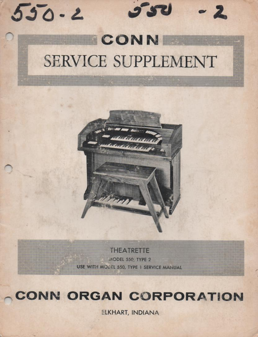 550 Theatrette Type 2 Organ Supplement Service Manual 2. Also need model 550 manual 1..