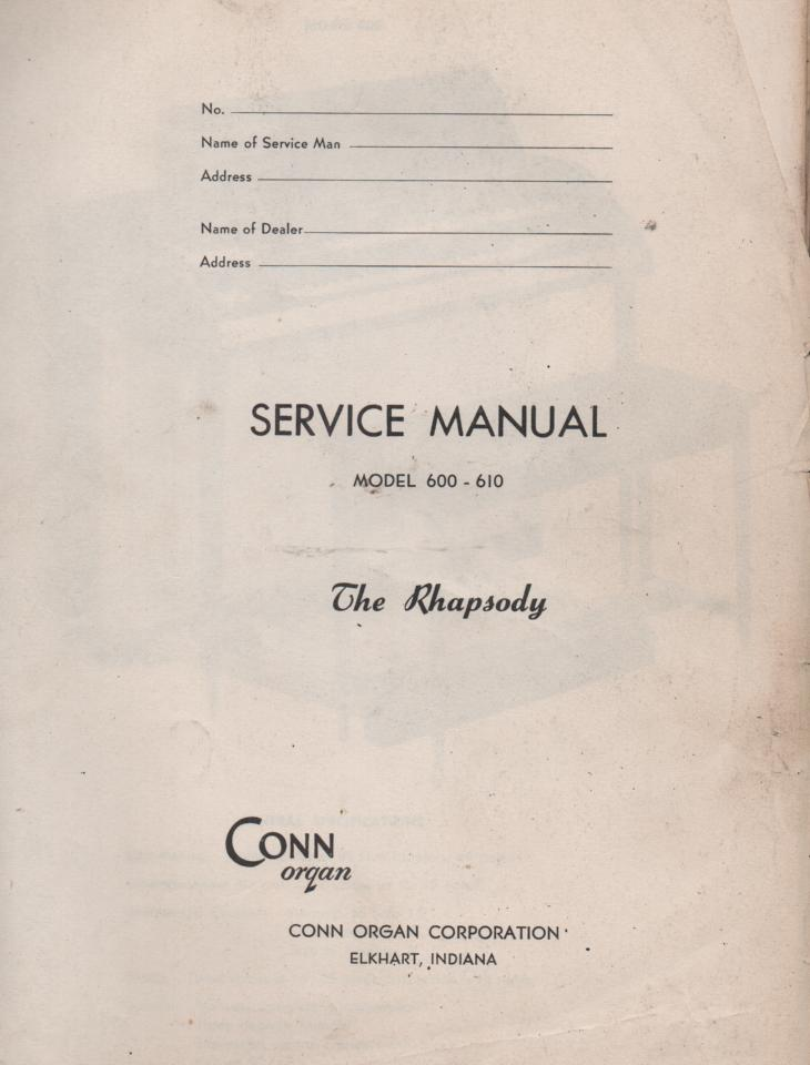 600 Rhapsody Organ Service Manual