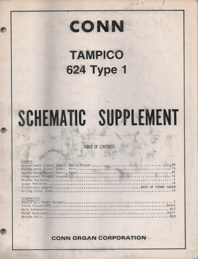 624 Tampico Type 1 Organ Supplement Service Manual