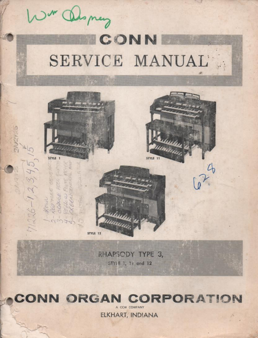 628 Rhapsody Type 3 Style 1 11 12 Organ Service Manual.