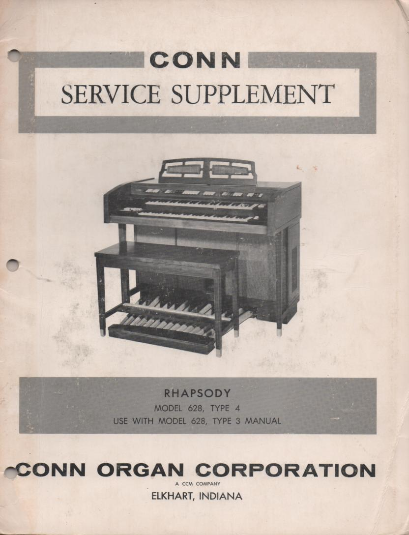 628 Rhapsody & Deluxe Rhapsody Type 4 Organ Service Manual. Use with Manual 3.