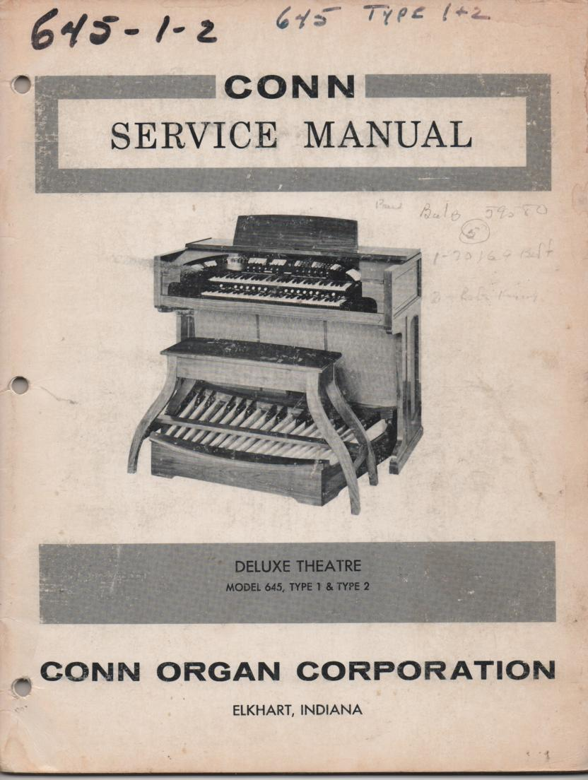 645 Deluxe Theatre Type 1 & 2 Organ Service Manual