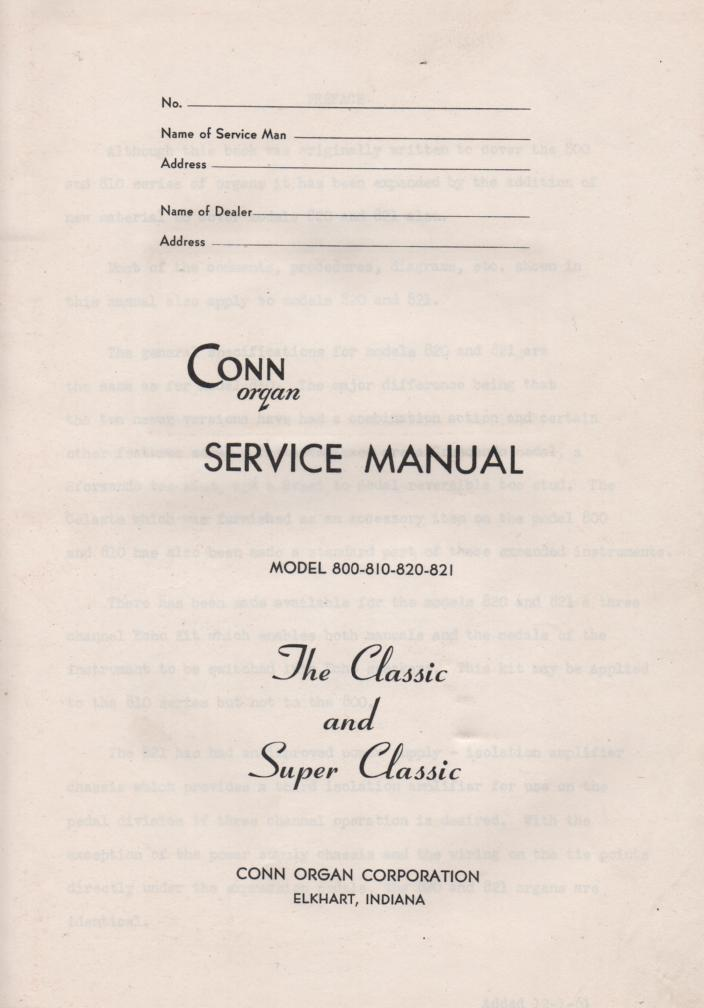 800 810 820 821 Classic and Super Classic Organ Service Manual