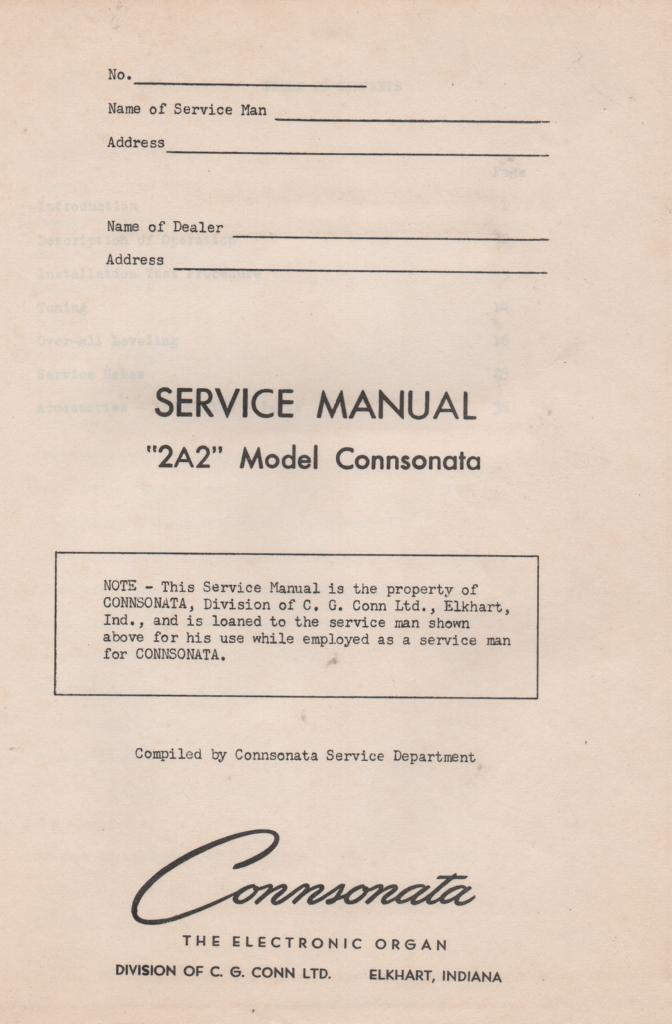 1A Connsonata Organ Service Manual