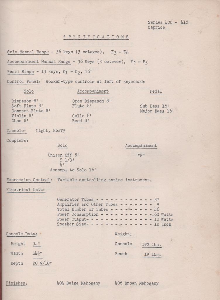 410 Organ Service Manual