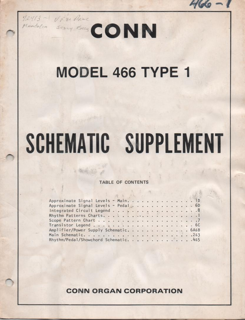 466 Caprice Organ Type 1 Service Manual 2. Schematic and parts list manual..