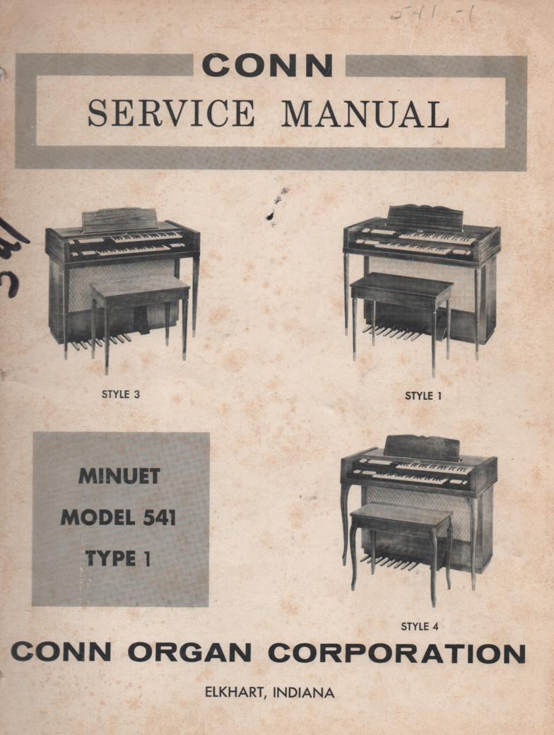 541 Minuet Organ Type 1 Style 1 3 4 Service Manual