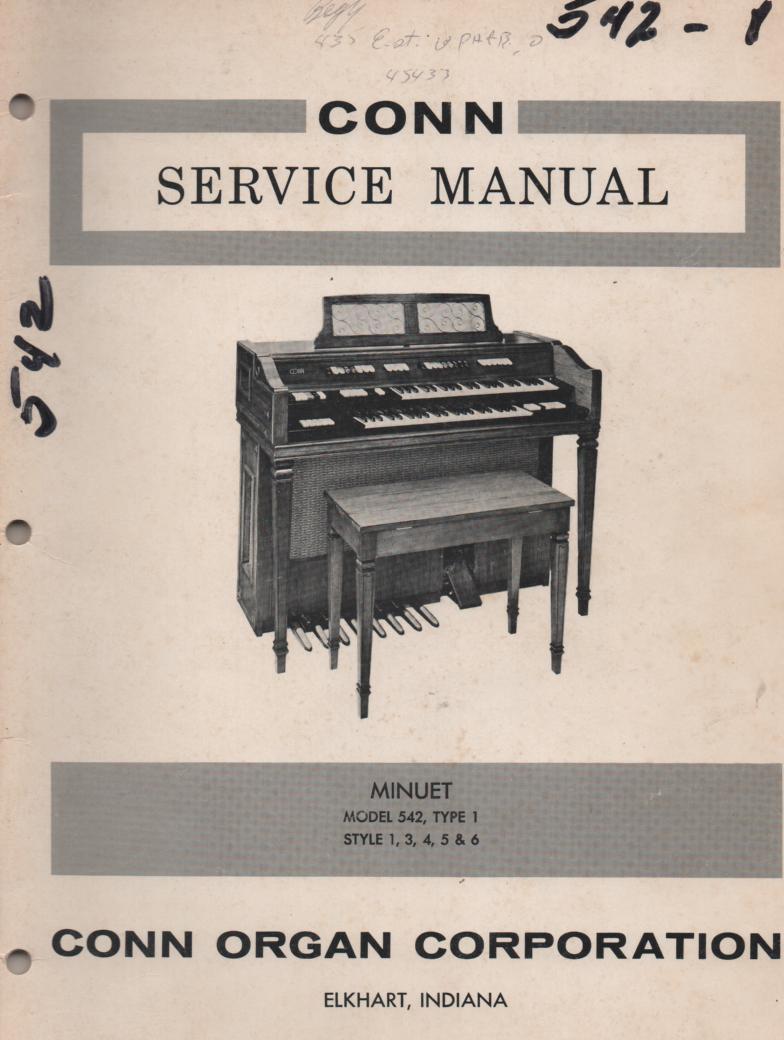542 Minuet Organ Type 1 Style 1 3 4 5 6 Service Manual