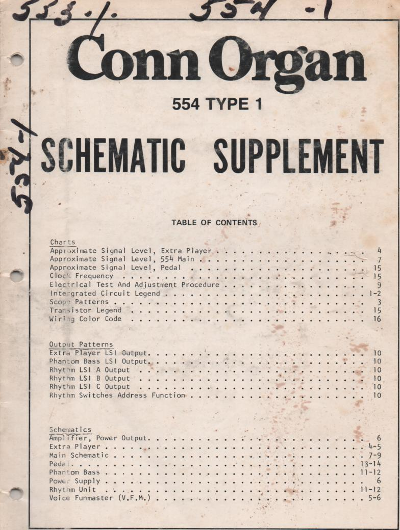 554 Organ Type 1 Service Manual