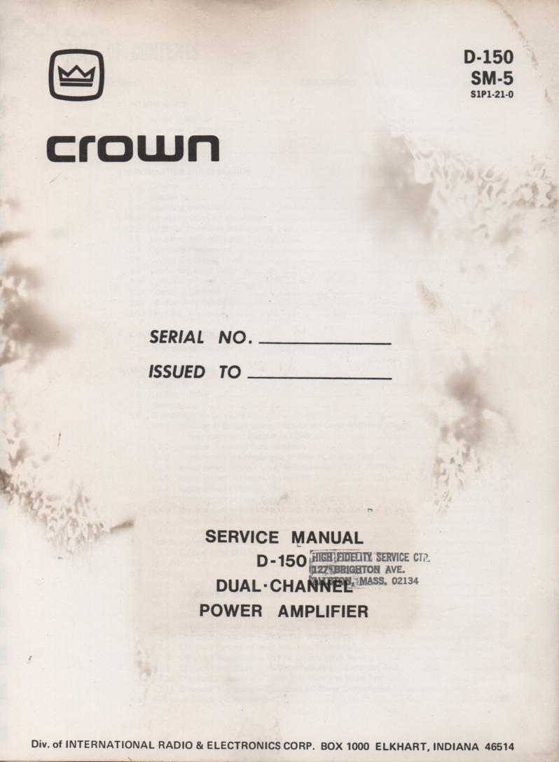 D-150 Dual Channel Power Amplifier Service Manual