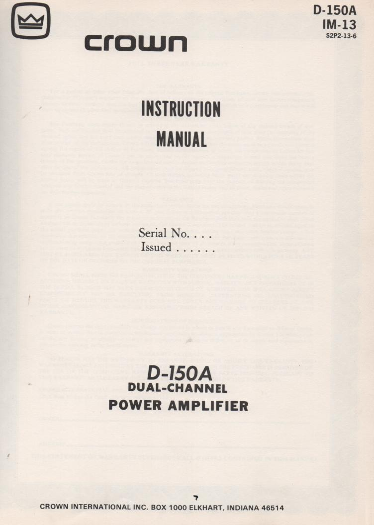 D-150A Power Amplifier Owners Service Manual