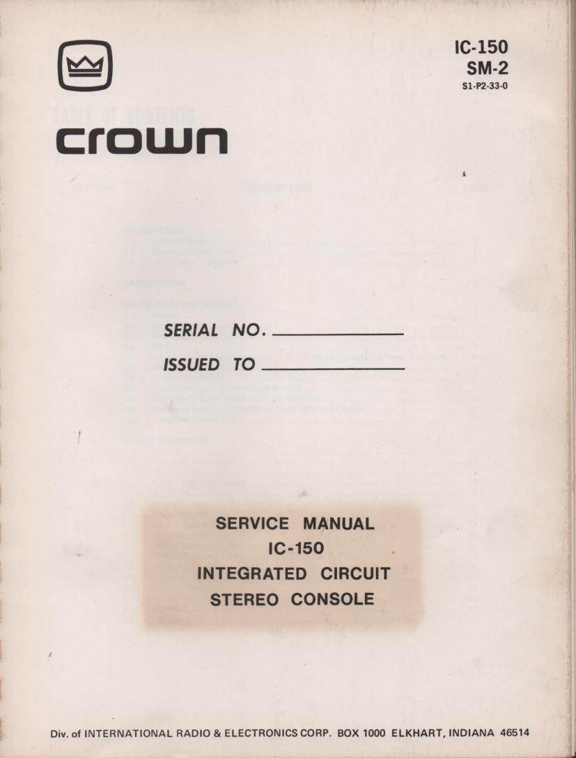 IC150 Stereo Console Service Manual.